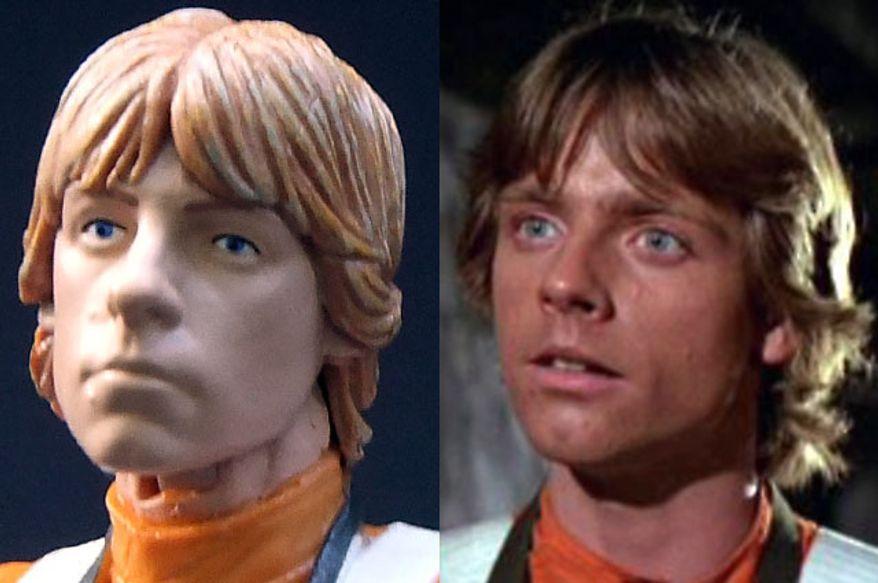 Hasbro's Star Wars: The Black Series, Luke Skywalker compared to actor Mark Hamill as Luke Skywalker.