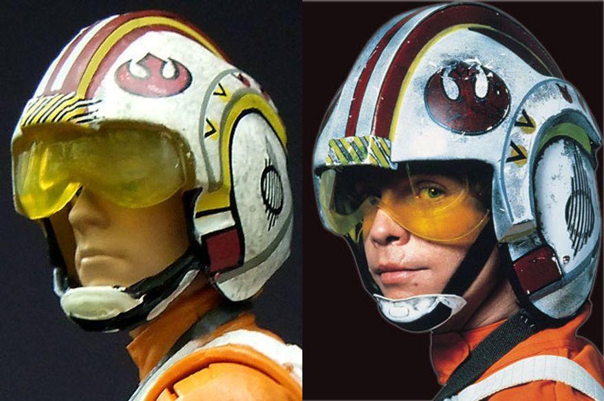 Hasbro's Star Wars: The Black Series, Luke Skywalker in helmet compared to actor Mark Hamill as Luke Skywalker.