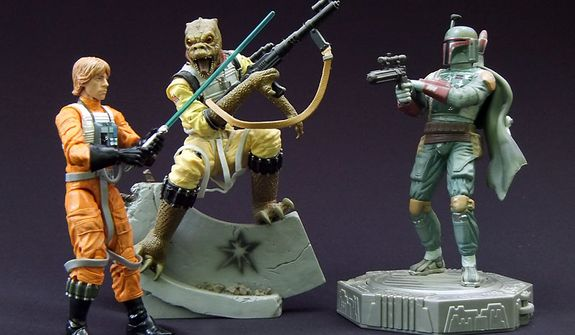 Star Wars: The Black Series, 6-inch Luke Skywalker compared to Star Wars: Unleashed Bossk and Star Wars: Epic Force Boba Fett. (Photo by Joseph Szadkowski/The Washington Times)