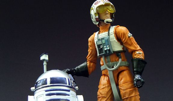 Hasbro's Star Wars: The Black Series 6-inch line-up features Luke Skywalker with helmet and R2-D2 action figures. (Photo by Joseph Szadkowski/The Washington Times)