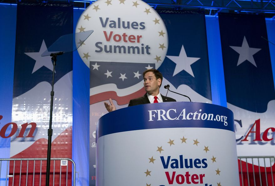 Sen. Marco Rubio R-Fla. speaks during the Values Voter Summit, held by the Family Research Council Action, Friday, Oct. 11, 2013, in Washington. ( AP Photo/Jose Luis Magana)