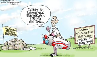 Sorry to leave you behind, but it's my tee time. (Illustration by Dana Summers of the Tribune Media Services)