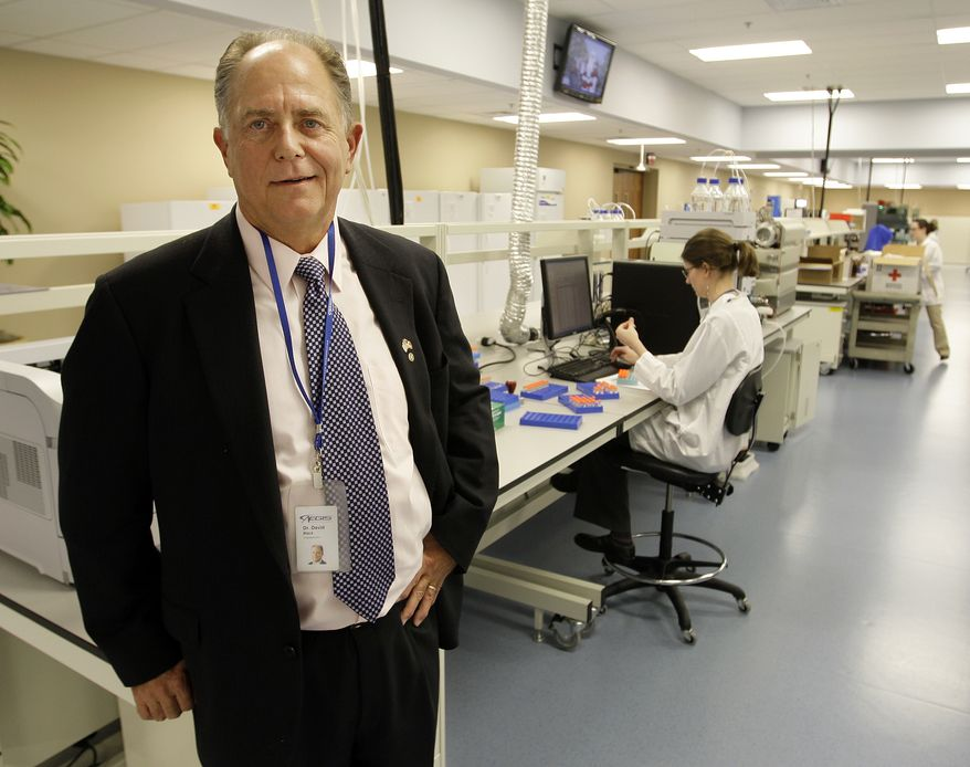 **FILE** Toxicologist David Black is shown in a lab of his company, Aegis Sciences Corp., in Nashville, Tenn., on Dec. 9, 2008. (Associated Press)