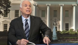 "In this photo provided by CBS News, on Sunday, Oct. 13, 2013, Sen. John McCain, R-Ariz., speaks on CBS' ""Face the Nation"" in Washington about the partial federal government shutdown. (AP Photo/CBS News, Chris Usher)"