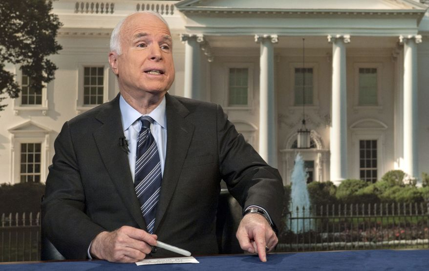 """In this photo provided by CBS News, on Sunday, Oct. 13, 2013, Sen. John McCain, R-Ariz., speaks on CBS' """"Face the Nation"""" in Washington about the partial federal government shutdown. (AP Photo/CBS News, Chris Usher)"""