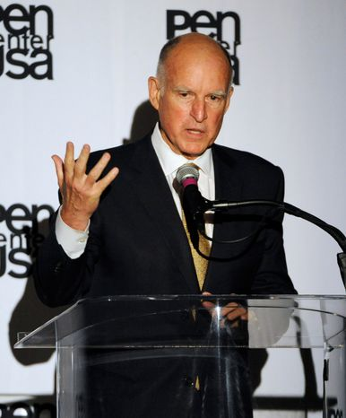 California Gov. Jerry Brown speaks on stage at the 23rd Annual Literary Awards at The Beverly Hills Hotel on Monday, Oct. 14, 2013, in Beverly Hills, Calif. (Photo by Chris Pizzello/Invision/AP)
