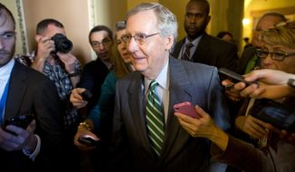 Senate Minority Leader Sen. Mitch McConnell, R-Ken., is surrounded by reporters as he walks to the Senate floor after meeting with Senate Majority Leader Sen. Harry Reid, D-Nev., in his office on Capitol Hill on Monday, Oct. 14, 2013 in Washington. The Senate's top two leaders both expressed optimism Monday that they were closing in on an agreement to prevent a national financial default and reopen the government after a two-week partial shutdown.  (AP Photo/ Evan Vucci)