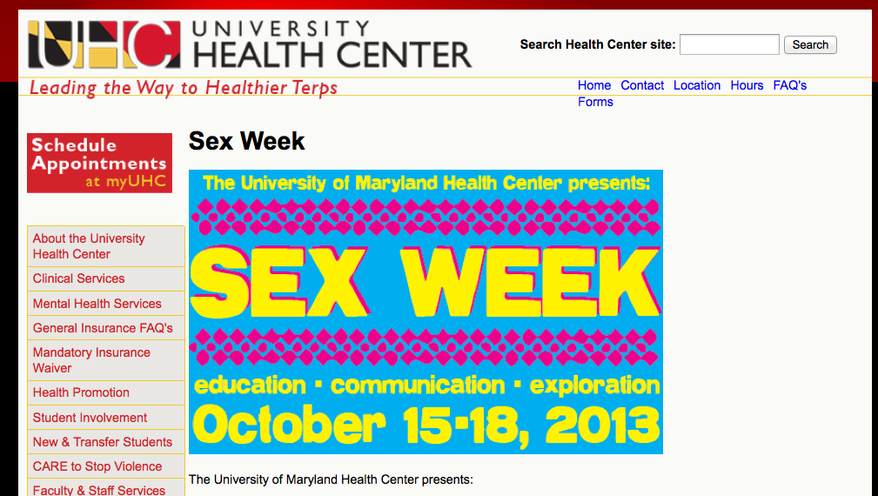 (Screen grab of http://www.health.umd.edu/sexweek)