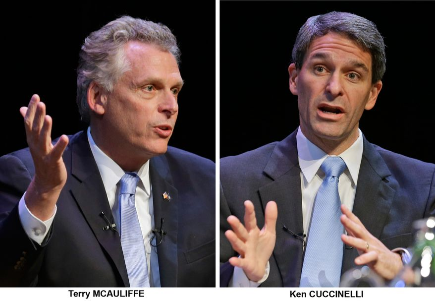 ** FILE ** In these Oct. 10, 2013, file photos Virginia candidates for governor, Democrat Terry McAuliffe and Republican Ken Cuccinelli, talk during a forum at the University of Richmond in Richmond, Va., prior to the November election. (AP Photo/Steve Helber, File)