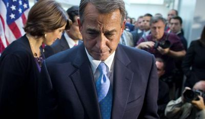 "TOUGH JOB: House Speaker John A. Boehner, Ohio Republican, is ""doing as well as any human being can do,"" according to Rep. H. Morgan Griffith, Virginia Republican. (Associated Press)"