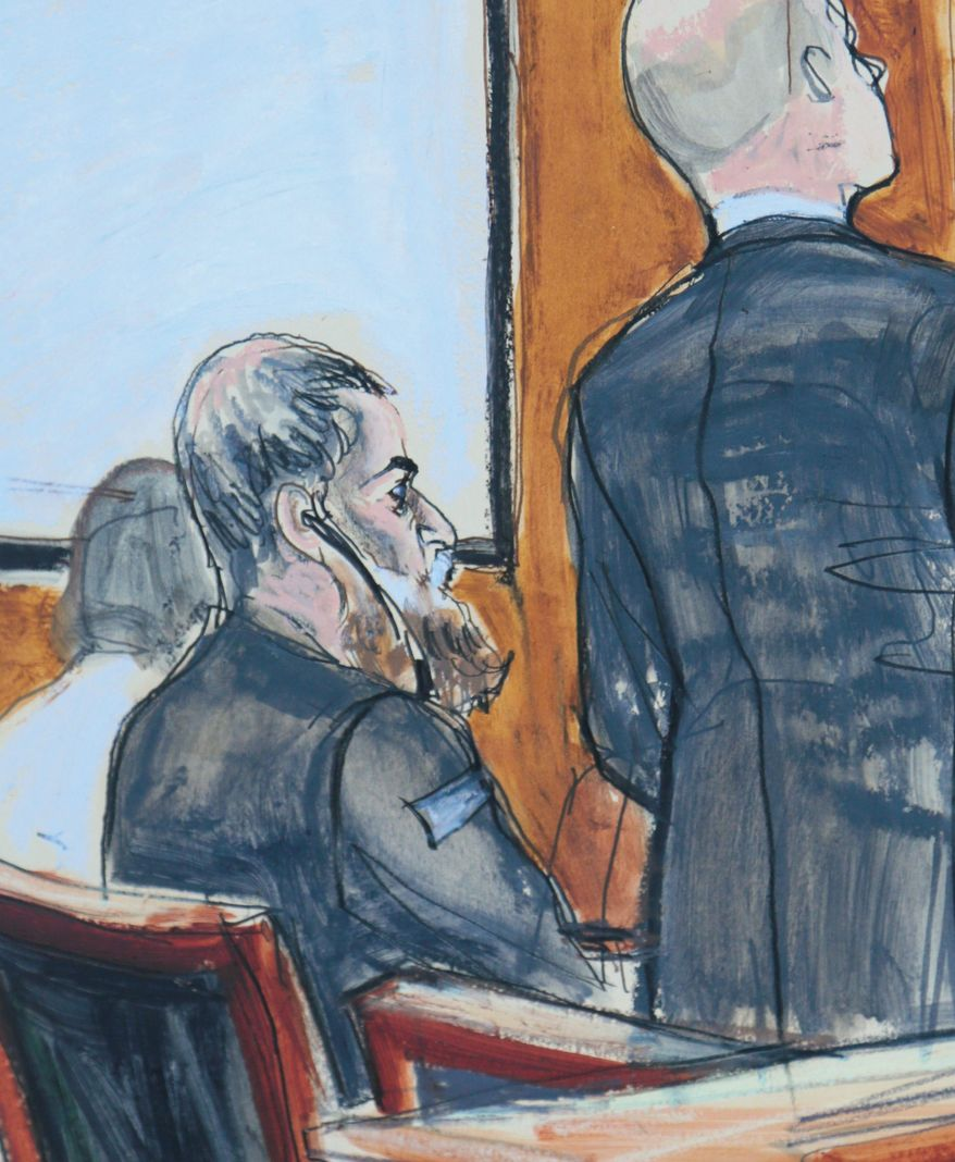 Abu Anas al-Libi, 49, is shown in a courtroom sketch. He pleaded not guilty in a Manhattan courtroom to terrorism charges in the deadly 1998 al-Qaeda bombings of U.S. embassies in Africa. (Associated Press)
