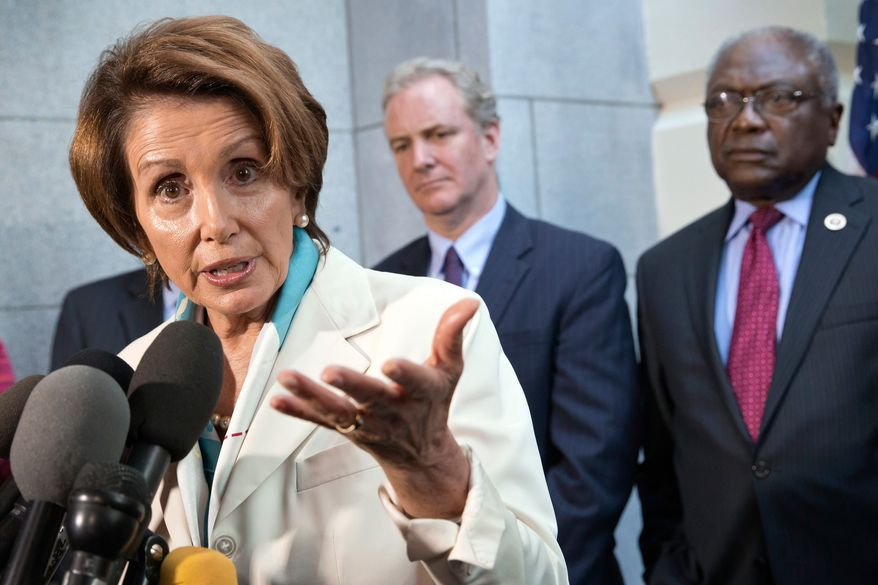 House Minority Leader Nancy Pelosi, D-Calif., speaks with reporters before going to the White House to meet with President Barack Obama, at the Capitol in Washington, Tuesday, Oct. 15, 2013, as Rep. Chris Van Hollen, D-Md., and Assistant Minority Leader James Clyburn, D-S.C., right, listen. (AP Photo/J. Scott Applewhite)