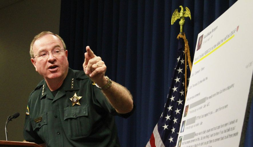Polk County Sheriff Grady Judd talks about the events leading up to the arrest over the weekend of two juvenile girls in a Florida bullying case at a press conference in Winter Haven, Fla., Monday, Oct. 15, 2013. (AP Photo/The Ledger, Calvin Knight) ** FILE **