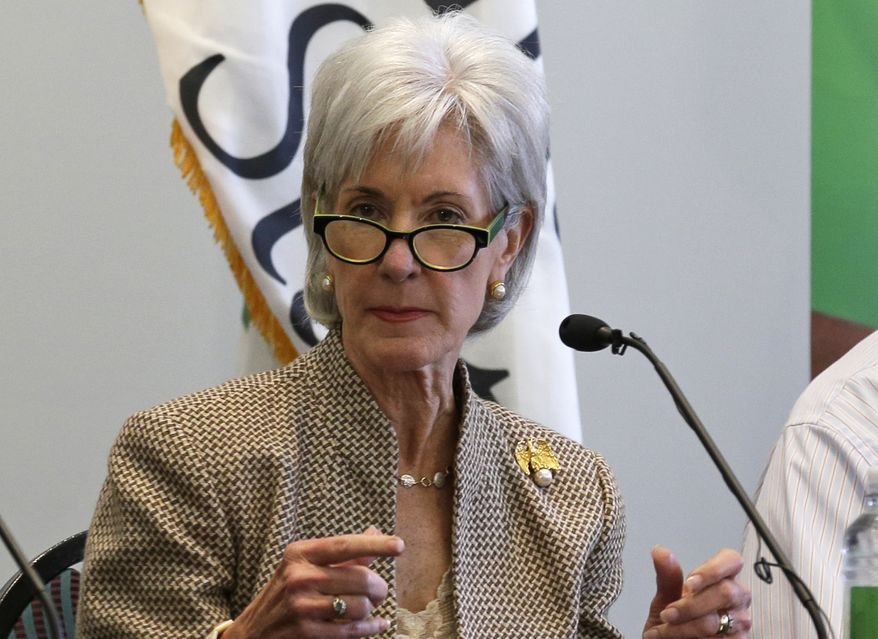 Health and Human Services Secretary Kathleen Sebelius discusses the federal health care overhaul during a panel discussion at Cincinnati State Technical and Community College on Wednesday, Oct. 16, 2013, in Cincinnati. For the first month alone, the Obama administration projected that nearly a half-million people world sign up for the new health insurance markets, according to an internal memo obtained by The Associated Press. But that was before the markets opened to a cascade of computer problems. (AP Photo/Al Behrman)