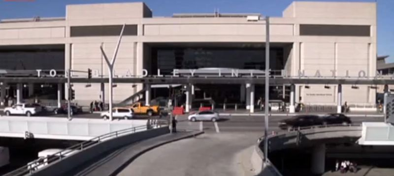 ** FILE ** In this framegrabbed image from APTN the entrance to the Tom Bradley International Terminal in Los Angeles can be seen Tuesday Oct. 15, 2013. (AP Photo\APTN)