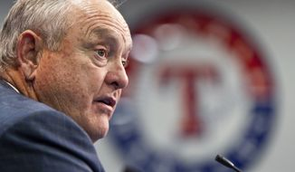 FILE - In this Jan. 19, 2012, file photo, Texas Rangers president Nolan Ryan speaks to reporters in Arlington, Texas.  (AP Photo/Brandon Wade, File)