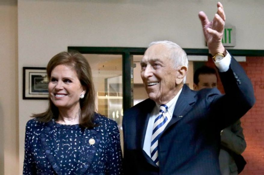 The late Sen. Frank Lautenberg and his wife Bonnie Englebardt Lautenberg seen here in 2013. (credit: Associated PRess)