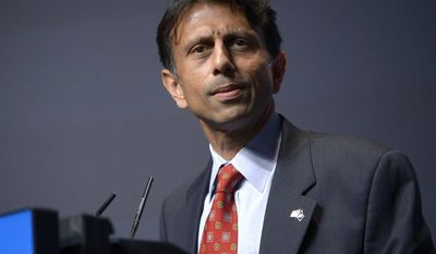 ** FILE ** In this Aug. 30, 2013, file photo, Louisiana Gov. Bobby Jindal addresses attendees during the Americans for Prosperity Foundation's Defending the American Dream Summit in Orlando, Fla. (AP Photo/Phelan M. Ebenhack)