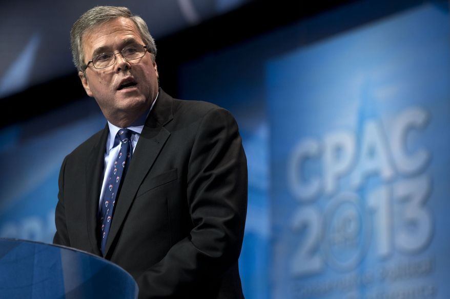 "FILE - In this March 15, 2013 file photo, former Florida Gov. Jeb Bush speaks during the Ronald Reagan Dinner at the 40th annual Conservative Political Action Conference in National Harbor, Md. Weighing in while hosting an education conference in Boston, the potential 2016 presidential candidate argued that congressional Republicans represent ""the mirror opposite"" of the successes of GOP governors outside the capital. (AP Photo/Jacquelyn Martin, File)"