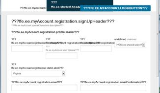 A screenshot of what users see when they try to sign up for Obamacare on Wednesday, Oct. 16, 2013. (The Washington Times)