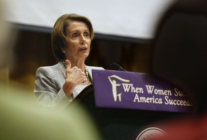 House Minority Leader Nancy Pelosi, California Democrat, urges more women to get involved in politics during a forum on women's economics at California State University in Sacramento, Calif., on Friday, Oct. 18, 2013. (AP Photo/Rich Pedroncelli)