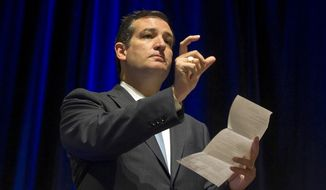 Sen. Ted Cruz, Texas Republican, speaks to members of the Texas Medical Association about the Affordable Care Act on Saturday, Oct. 19, 2013, in Austin, Texas. (AP Photo/Austin American-Statesman, Rodolfo Gonzalez)