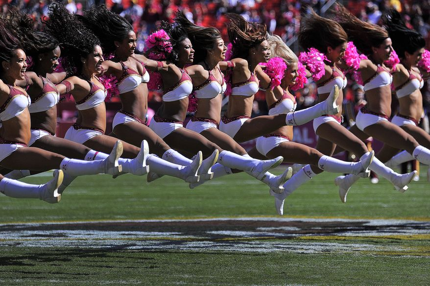 The Washington Redskins Cheerleaders perform before the game at FedExField, Landover, Md., October 20, 2013. (Preston Keres/Special for The Washington Times)