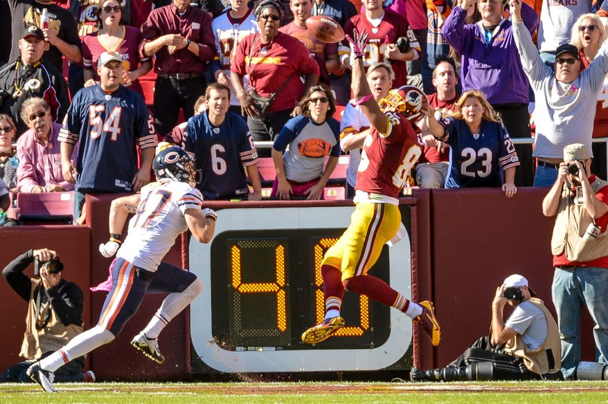 Washington Redskins tight end Jordan Reed (86) scores a touchdown in the second quarter as the Washington Redskins play the Chicago Bears at FedExField, Landover, Md., Sunday, October 20, 2013. (Andrew Harnik/The Washington Times)