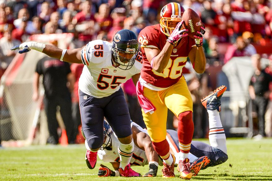 Washington Redskins tight end Jordan Reed (86) runs after a catch in the first quarter as the Washington Redskins play the Chicago Bears at FedExField, Landover, Md., Sunday, October 20, 2013. (Andrew Harnik/The Washington Times)