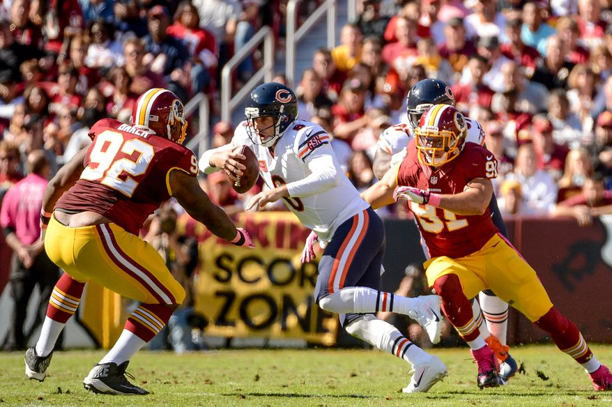Chicago Bears quarterback Jay Cutler (6) is injured as he is sacked in the second quarter as the Washington Redskins play the Chicago Bears at FedExField, Landover, Md., Sunday, October 20, 2013. (Andrew Harnik/The Washington Times)