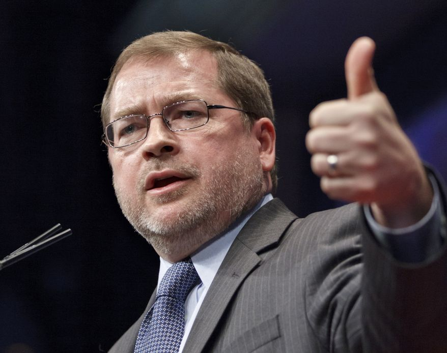 """FILE - In this Feb. 11, 2012, file photo anti-tax activist Grover Norquist, president of Americans for Tax Reform, addresses the Conservative Political Action Conference (CPAC) in Washington. Anti-tax champions are crowing after the recent budget battle on Capitol Hill. """"Republicans have the high ground,"""" says Norquist, author of a """"no new taxes"""" pledge reviled by many in Washington. In the upcoming round of bipartisan talks, he said, Democrats will have little leverage to seek new revenues. (AP Photo/J. Scott Applewhite, file)"""