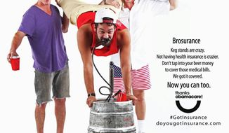 "A ""brosurance"" outreach for Obamacare aimed at young males from the Colorado Consumer Health Initiative and ProgressNow Colorado taps into party mentality. (Colorado Consumer Health Initiative)"