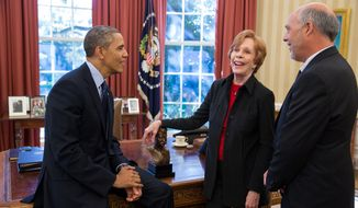 President Barack Obama talks with Carol Burnett, the 2013 recipient of the Mark Twain Prize for American Humor, and her husband Brian Miller, in the Oval Office, Oct. 21, 2013. (Official White House Photo by Pete Souza)