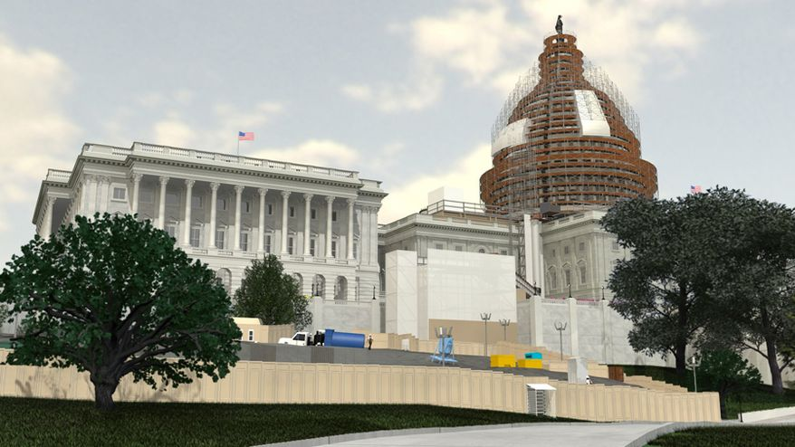 Congress will spend $60 million on a two-year restoration of the Capitol's dome, which will require it be covered in scaffolding. A rendering of the scaffolding system is seen here. (aoc.gov)