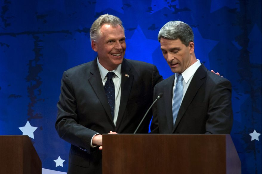 Democrat Terry McAuliffe (left) and Virginia Attorney General Kenneth T. Cuccinelli II face off in the last debate between the two gubernatorial candidates Thursday. (associated press)