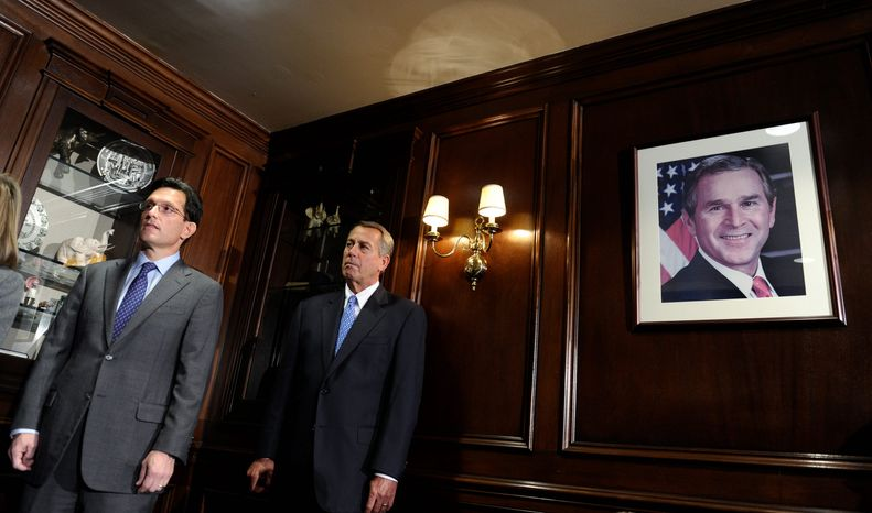 "House Speaker John A. Boehner of Ohio (center) and House Majority Leader Eric Cantor of Virginia both said they expect their colleagues will take up an immigration reform proposal. ""The committees are still working on this issue,"" Mr. Cantor said. (ASSOCIATED PRESS)"