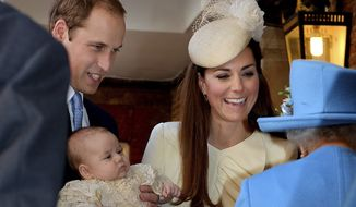 Britain's Queen Elizabeth II (right) speaks with Prince William (left) and Kate, Duchess of Cambridge, as they arrive with their infant son, Prince George, at the Chapel Royal in St. James's Palace in London on Wednesday, Oct. 23, 2013. Third in line to the British throne, 3-month-old George was christened with water from the River Jordan at a rare four-generation gathering of the royal family. (AP Photo/John Stillwell, Pool)