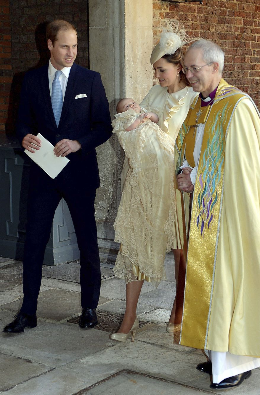 Britain's Prince William, right, Kate Duchess of Cambridge with their son Prince George leave the Chapel Royal in St James's Palace in London, with the Archbishop of Canterbury Justin Welby  after the christening of the three month-old Prince George, Wednesday Oct. 23, 2013. Prince George was christened Wednesday with water from the River Jordan at a rare four-generation gathering of the royal family in London.   (AP Photo/John Stillwell/Pool)