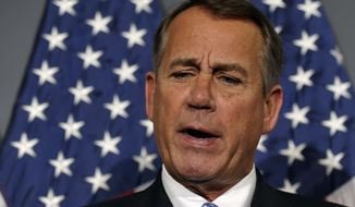 **FILE** House Speaker John Boehner of Ohio speaks during a new conference following a meeting at the Republican National Committee offices on Capitol Hill in Washington on Oct. 23, 2013. (Associated Press)