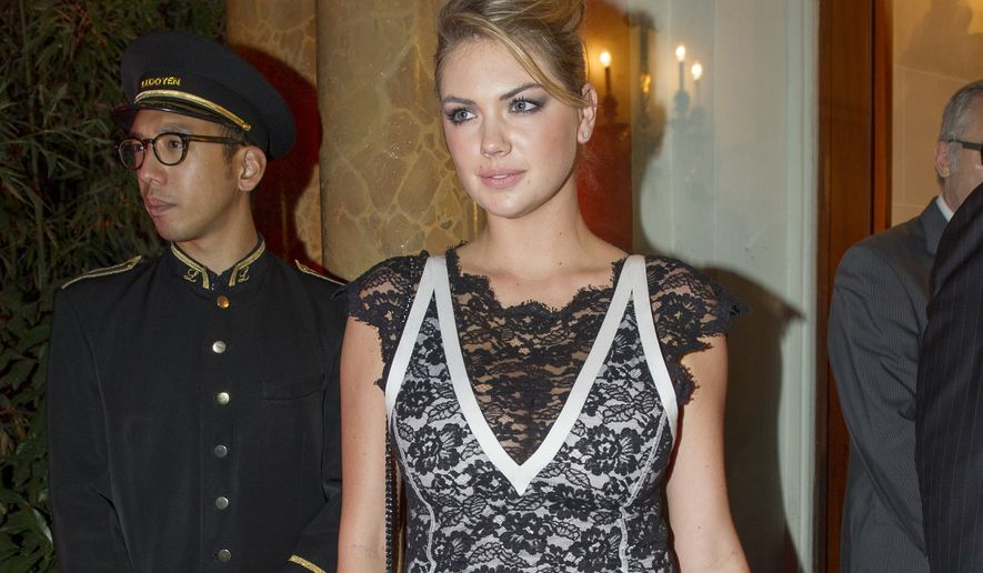 Kate Upton arrives to attend the Mademoiselle C Fashion Week VIP Screening after party, in Paris, Tuesday, Oct.1, 2013. (AP Photo/Zacharie Scheurer)