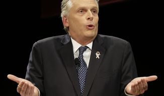 Democratic gubernatorial candidate, Terry McAuliffe speaks during a debate at Virginia Tech in Blacksburg, Va., Thursday, Oct. 24, 2013. (AP Photo/Steve Helber)