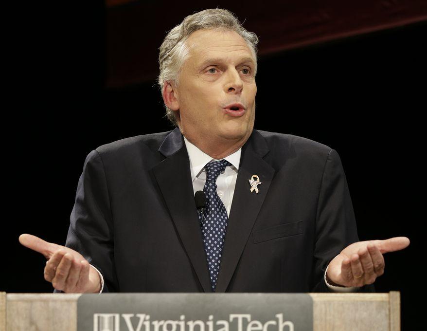 Democratic gubernatorial candidate, Terry McAuliffe speaks during a debate at Virginia Tech in Blacksburg, Va., Thursday, Oct. 24, 2013. (AP Photo/Steve Helber)