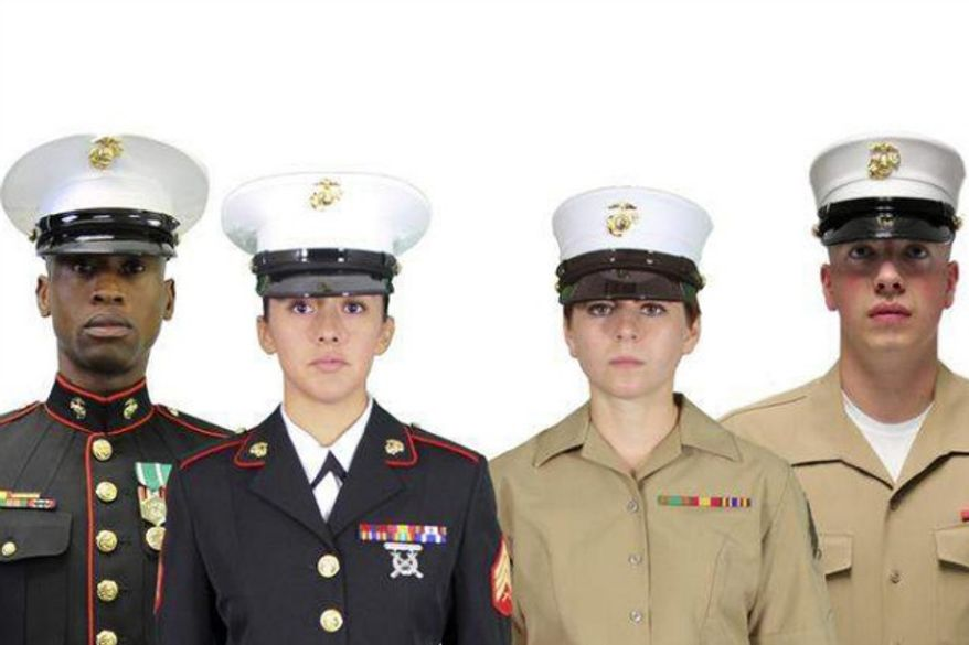 Current U.S. Marine Corps covers on the left. Proposed new hats on the right. (credit: NY Post)