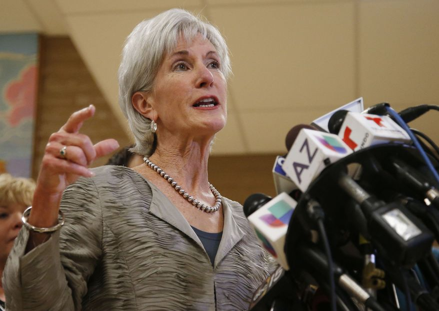 Health and Human Services Secretary Kathleen Sebelius answers a question as she holds a news conference at the Wesley Health Center, one of two facilities she visited where locals can get help navigating the Affordable Care Act on Thursday Oct. 24, 2013, in Phoenix, amid calls for her resignation after the rollout of insurance exchanges under the new federal health care law. (AP Photo/Ross D. Franklin)