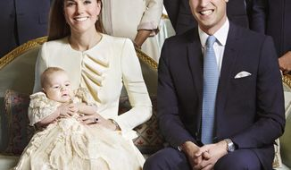 ** FILE ** This image made available by Camera Press shows the official christening photo of Britain's Prince George photographed in the Morning Room at Clarence House in London on Wednesday Oct. 23, 2013. (AP Photo/Jason Bell, Camera Press)