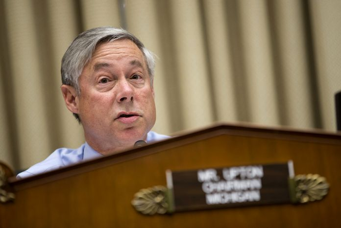 FILE - In this Oct. 24, 2013 file photo, House Energy and Commerce Committee Chairman Rep. Fred Upton, R-Mich. speaks on Capitol Hill in Washington. Congressional Republicans are waging war against a hapless Web Site and hoping it leads to the destruction of Obamacare, the health care program they loathe yet can't stop talking about it. As a tactic, it's no more likely to succeed than this autumn's self-wounding decision by Republicans to force a partial government shutdown and flirt with default on the national debt. Or their specious, long-ago claim that the program included death panels.   (AP Photo/ Evan Vucci, File)