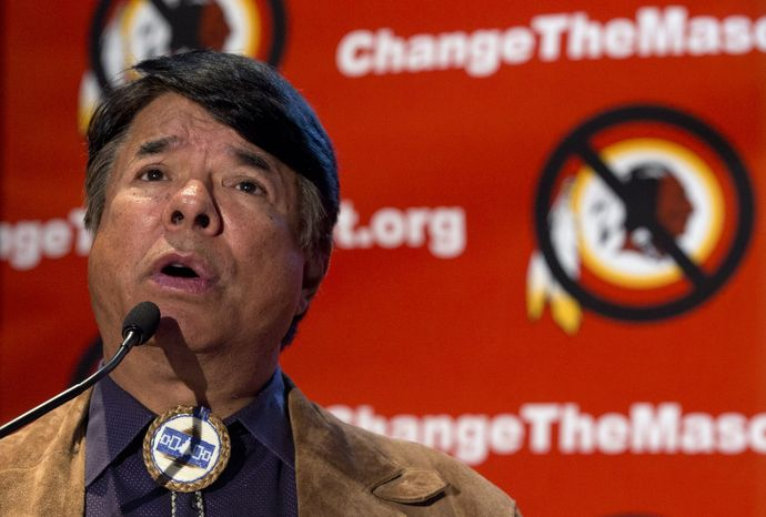 FILE - In this Oct. 7, 2013, file photo, Oneida Indian Nation leader Ray Halbritter speaks in Washington, calling for the Washington Redskins NFL football team to change its name. Oneida Indian officials who oppose the Redskins nickname as a slur will meet with NFL officials next week in New York, a tribe spokesman said Friday, Oct. 25, 2013. (AP Photo/Carolyn Kaster, File)