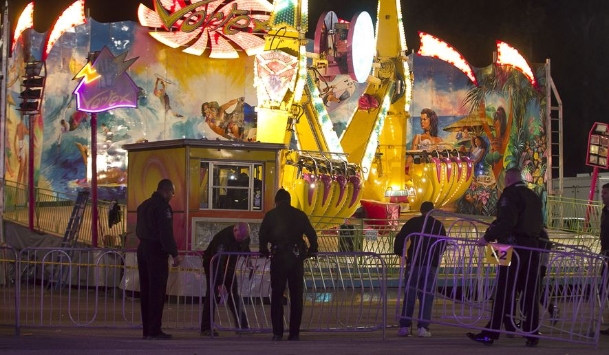 Fairgrounds Police secure a barricade around the Vortex after an accident closed the ride just after 9 p.m. on Thursday Oct. 24, 2013 at the N.C. State Fair in Raleigh, N.C. The accident occurred on the ride at the North Carolina State Fair on Thursday night, sending five people to the hospital with unknown injuries. (AP Photo/The News & Observer, Robert Willett)