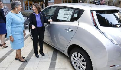 Mary Nichols, chairwoman of the California Air Resources Board, left, and Deb Markowitz, secretary of  the Vermont Agency of  Natural Resources, view an electric car displayed in Sacramento, Calif., following a news conference to announce the signing of an agreement on zero-emissions cars, Thursday, Oct. 24, 2013. (AP Photo/Rich Pedroncelli)