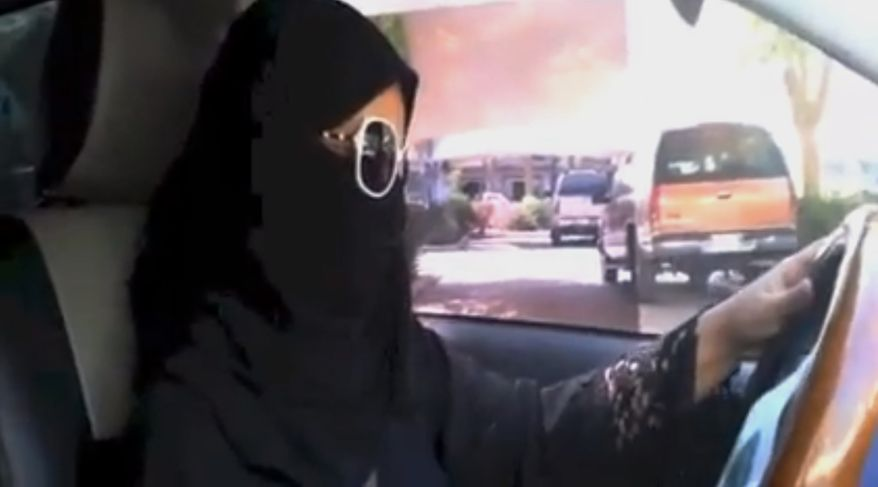 A Saudi woman drives in Riyadh, Saudi Arabia, on Saturday, Oct. 26, 2013, in this image made from video provided by the Oct26thDriving campaign and authenticated based on its contents and other AP reporting. The woman said she got behind the wheel and drove to the grocery store without being stopped or harassed by police, kicking off a campaign protesting the ban on women driving in the ultraconservative kingdom. (Associated Press) ** FILE **